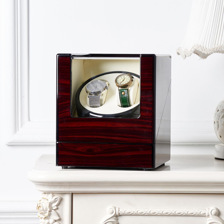 صندوق تخزين ووتش شاكر الميكانيكية مزدوجة ساعة آلة لف التلقائي الدورية خشبي عرض مجلس الوزراء الغرينية الدورية