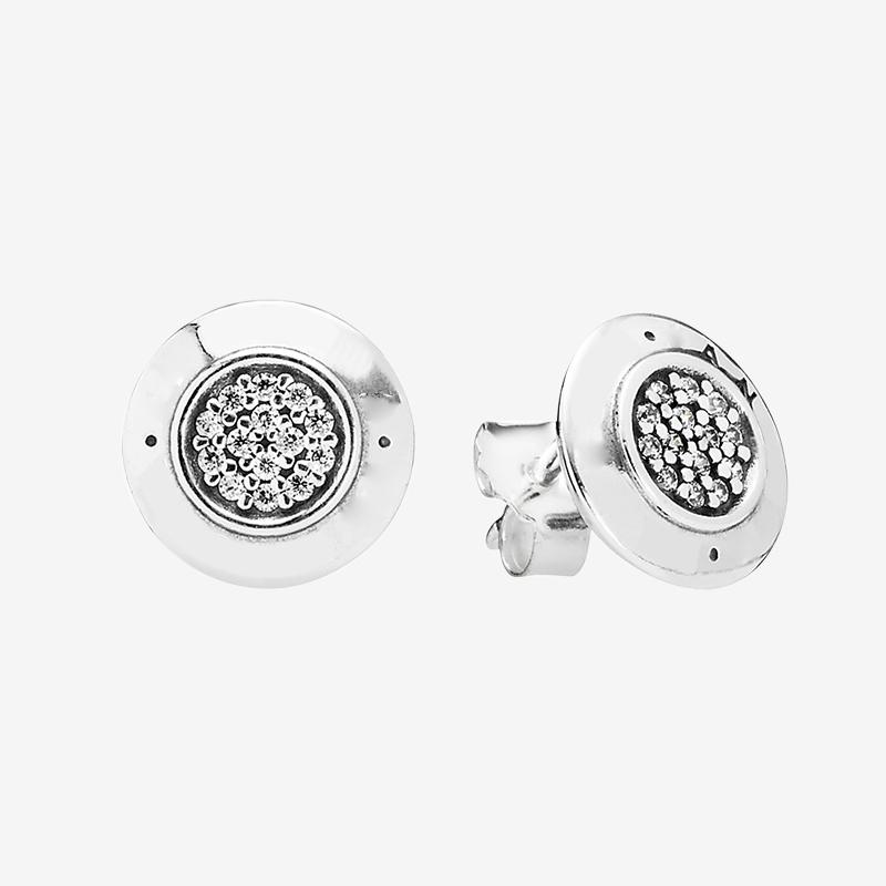 925 boucles d'oreilles Disque d'été avec la boîte originale Bijoux Pandora or jaune or rose sertie de diamants CZ Boucles d'oreilles