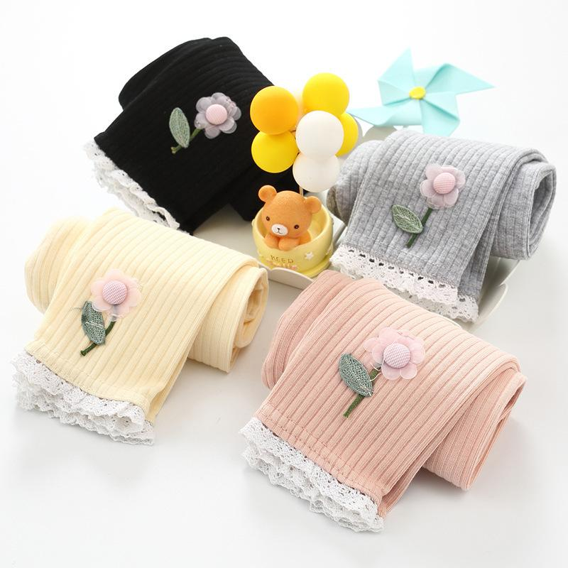 Kids Designer Clothes Girls a Generation of Girls Korean Fashion Pure Color Cotton Striped Leggings Infant Childrens Wear Spring and Autumn