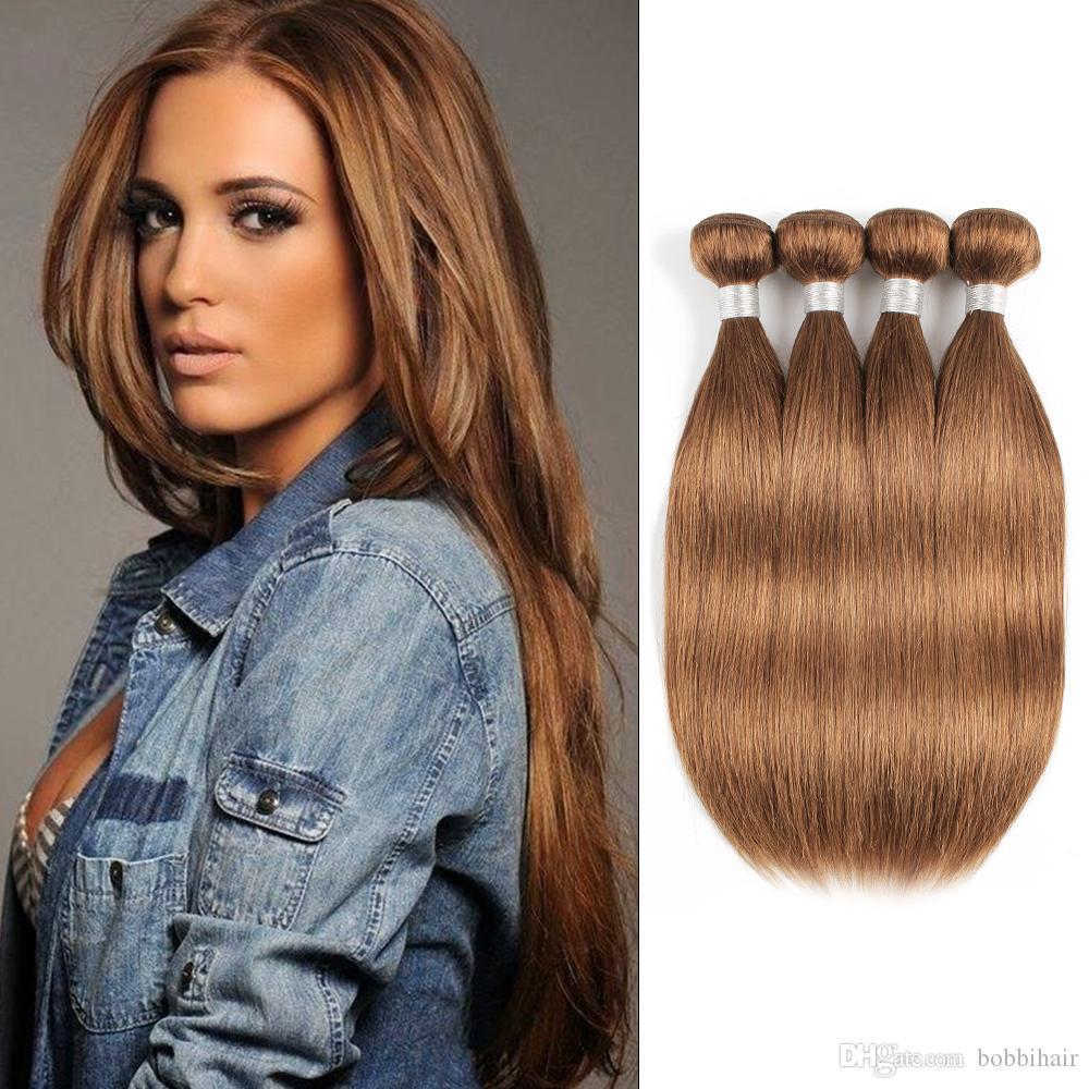# 30 Golden Brown capelli lisci umano Bundles peruviano malesi del Virgin capelli 3 o 4 pacchi 16-24 pollici Remy estensioni dei capelli umani