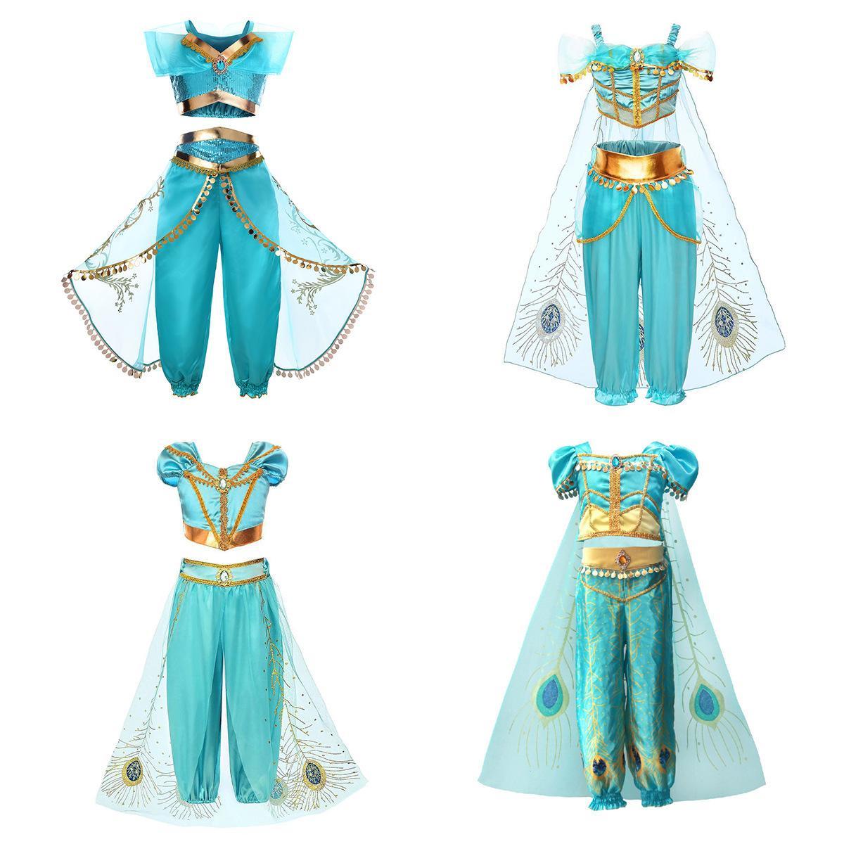 4 أنماط الفتيات الياسمين تأثيري 2 قطعة الملابس مجموعة جميل الأخضر والذهب الأميرة اللباس فتاة حزب المرحلة الرقص ارتداء
