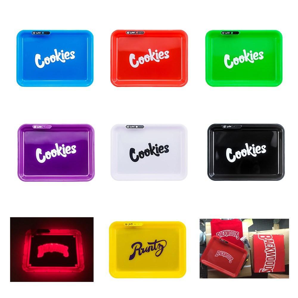불모지 LED 롤링 트레이 쿠키 발광 담배 트레이 7 색 LED 조명 Glowtray Runtz 충전식 발광 트레이를 들어 드라이 허브