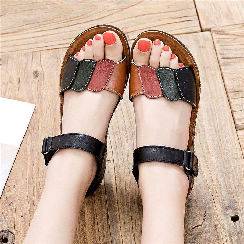 ZZPOHE 2020 neue Sommer-Frauen Sandalen Mode öffnen Zehe-Anti-Rutsch-Mutter Flache Sandalen Damen Freizeit Slip-on Bequeme Schuhe