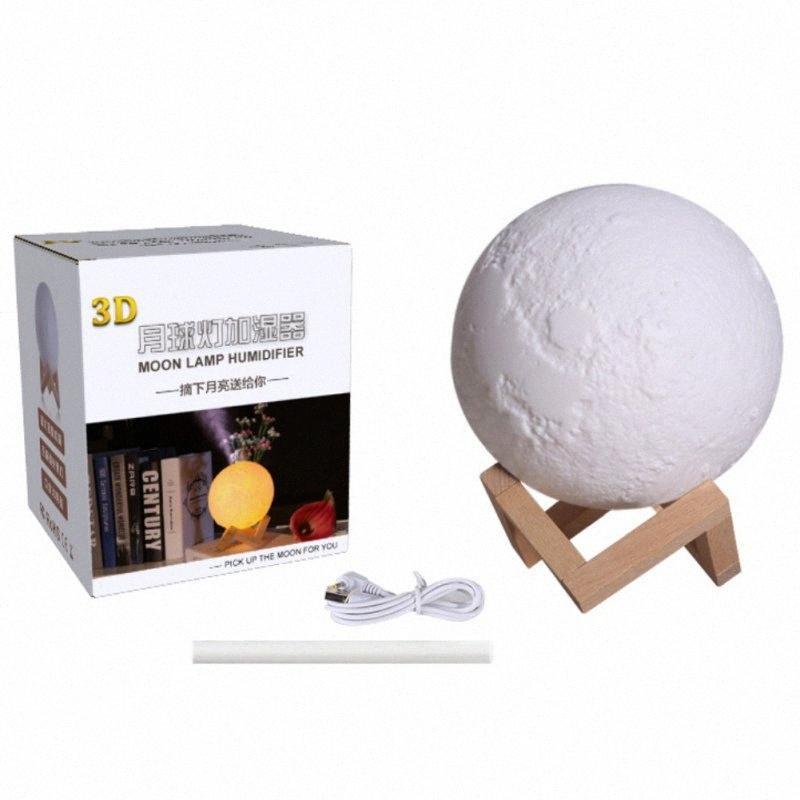 1500ML Kreative 3D Moon Lamp Luftbefeuchter mit kühlem Nebel Touch Control USB Powered 3 Farbwechsel LED Nacht Diffusor neuen e5vN #
