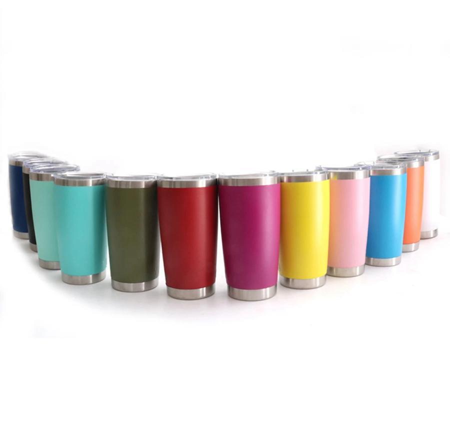 Kapak Kahve Kupalar Deniz Kargo OOA8089 ile 20 oz Paslanmaz Çelik Mug 13 Renkler Çift Duvar Seyahat Kupalar İzoleli Su Şişesi Bira Tumbler