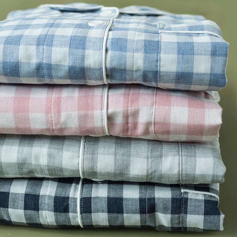 tuta qx88a vecchi 75-primavera e l'autunno maniche lunghe in cotone da uomo a quadri di casa abiti vestiti fornire domestico del cotone dei vestiti pigiama garza ODvfs