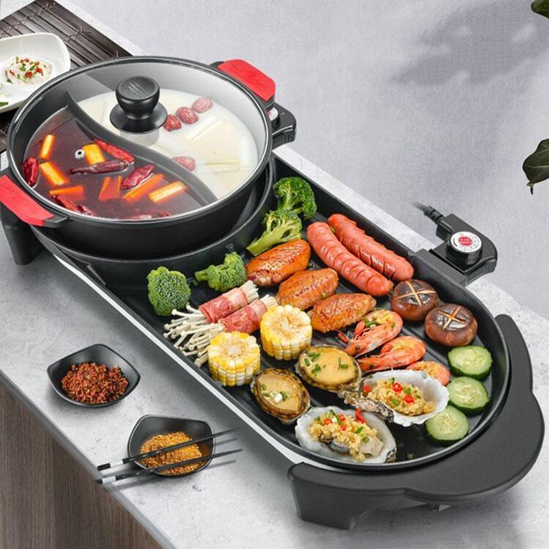 Plus grand 2 en 1 220V électrique chaude chaude fourguelle barbecue machine maison barbecue barbecue équipement de viande rôtie intérieur