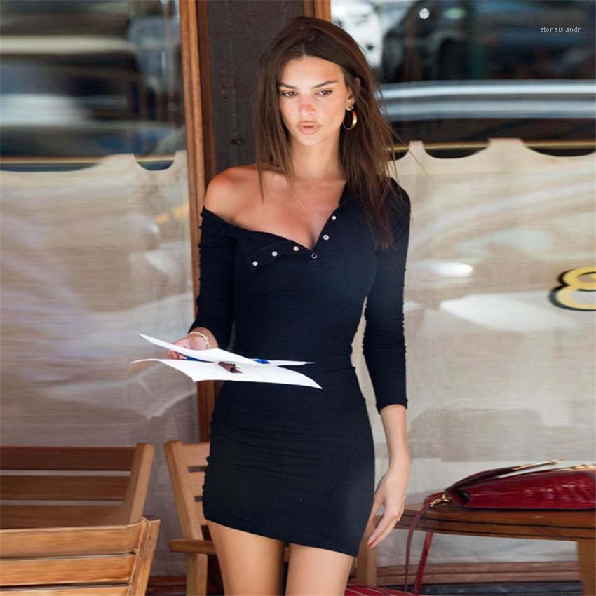 La manga larga de las señoras flacas Vestido con el cuerpo casuales color sólido Hembra la línea vestido de los vestidos delgados atractivos para mujer cuello en V