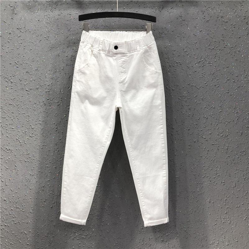 Spring Summer Women Ankle-length Pants Plus Size Solid Cotton Denim Loose Harem Pants White Black Elastic Waist Jeans M-3XL D68 CX200721