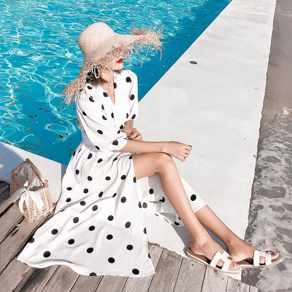 Weibliche Laterne Hülsen-elegantes Kleid des neuen Frühlings-Herbst-Frauen Schwarzweiss-Tupfen-lange Kleider S-XL Süße Vestidos AE572