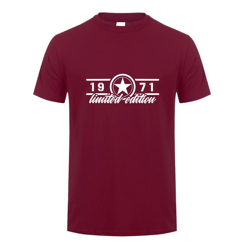 T-shirts Hommes Été Édition Limitée de 1971 T-shirt Hommes Coton Col Coton Col à manches courtes Anniversaire Cadeau T-shirt Homme Tops Tee Oz-257