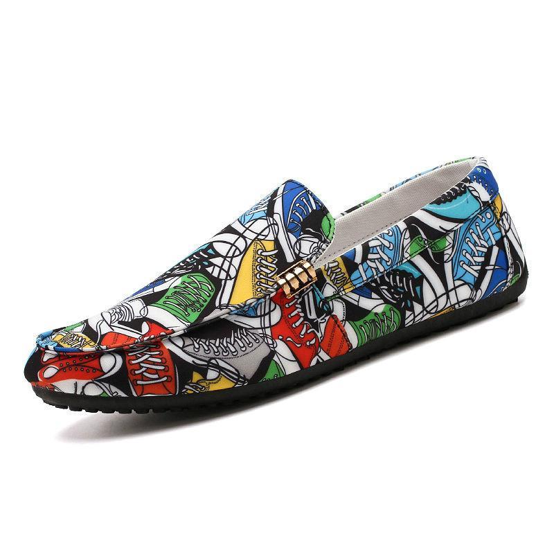 Toe rodada Super Forma Homens calçados casuais Primavera e Outono Cores misturadas Mens Loafers Casual Flats coloridos