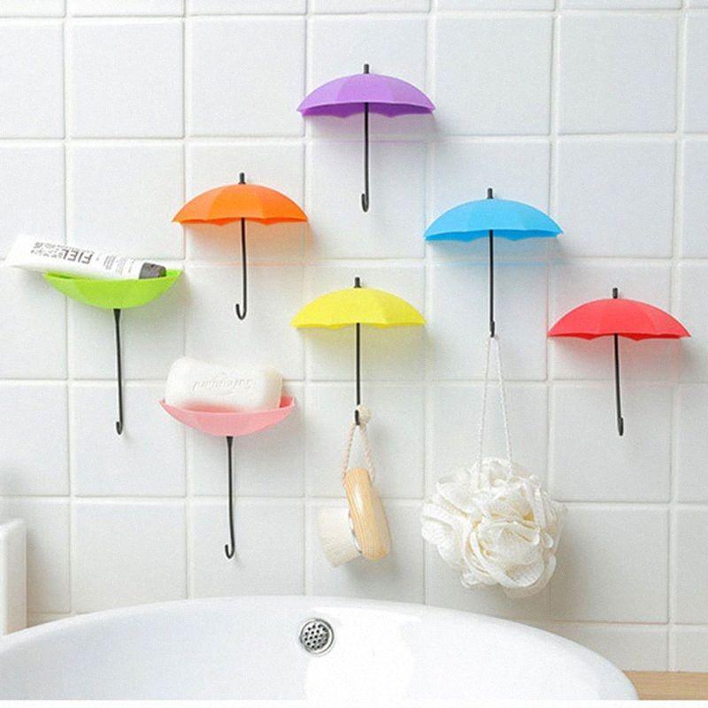3 PSC / lot parede Umbrella criativa gancho Chaves Mini Gancho Titular Hanger Vidro Colar adesivo parede Hooks BND6 #