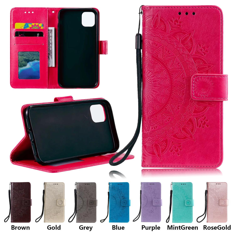 Cajas de teléfono de la cartera para iPhone 12 11 Pro Max XR XS X 7 8 PLUS SAMSUNG GALAXY S21 Ultra TOTEM ENFSSING PU CUERTURO DE CUERZA DE CUBIERTA DE CUBIERTA