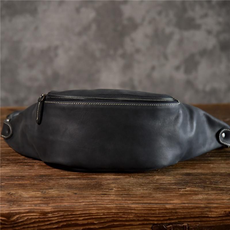 di alta qualità del sacchetto del messaggero della spalla cintura di pelle bovina semplice annata torace marsupi sport casuali PNDME uomini del cuoio genuino MX200717