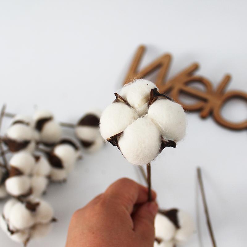 120pcs / bag Cotton Bolls Natural Cotton Artificial Flower Decoração Branco Flores secadas Cotton decorativa DIY flor do casamento