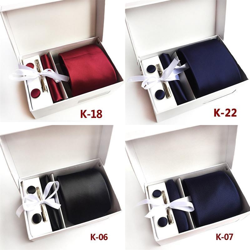 العلاقات الحرير الصلبة للرجال زفاف العريس ربطة العنق أحمر أزرق أسود اللون ساحة الجيب التعادل كليب أزرار أكمام 4PCS مجموعات دون صندوق A020 T200805