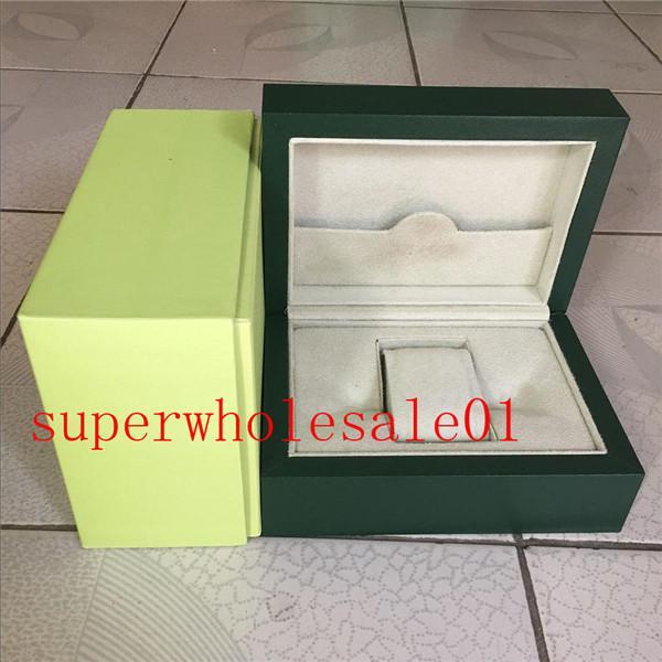 reloj de lujo libre del Mens por un reloj Rolex original de la caja interior exterior Womans Relojes Cajas de reloj de los hombres verdes de cartón caja manual 881