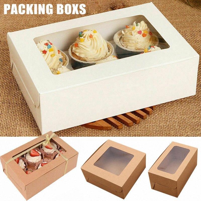 Hot 10PCS 2/4/6 Löcher Kraft-Papier-Kuchen-Verpackungs-Kasten Muffin Hochzeit Fall Halter Box FQ-ing wDy4 #