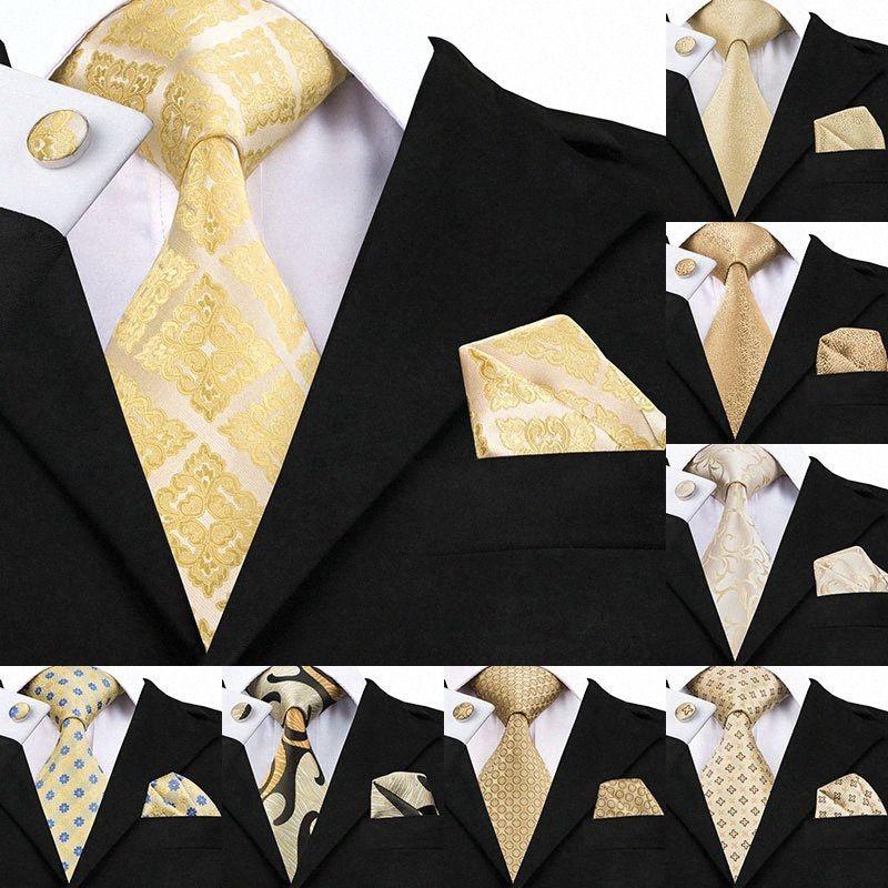 Set Men di SN-1036 Giallo floreale Tie Hanky gemelli 100% seta oro legami per gli uomini maschio convenzionale della cravatta da festa di nozze sposo Corbatas vB5c #