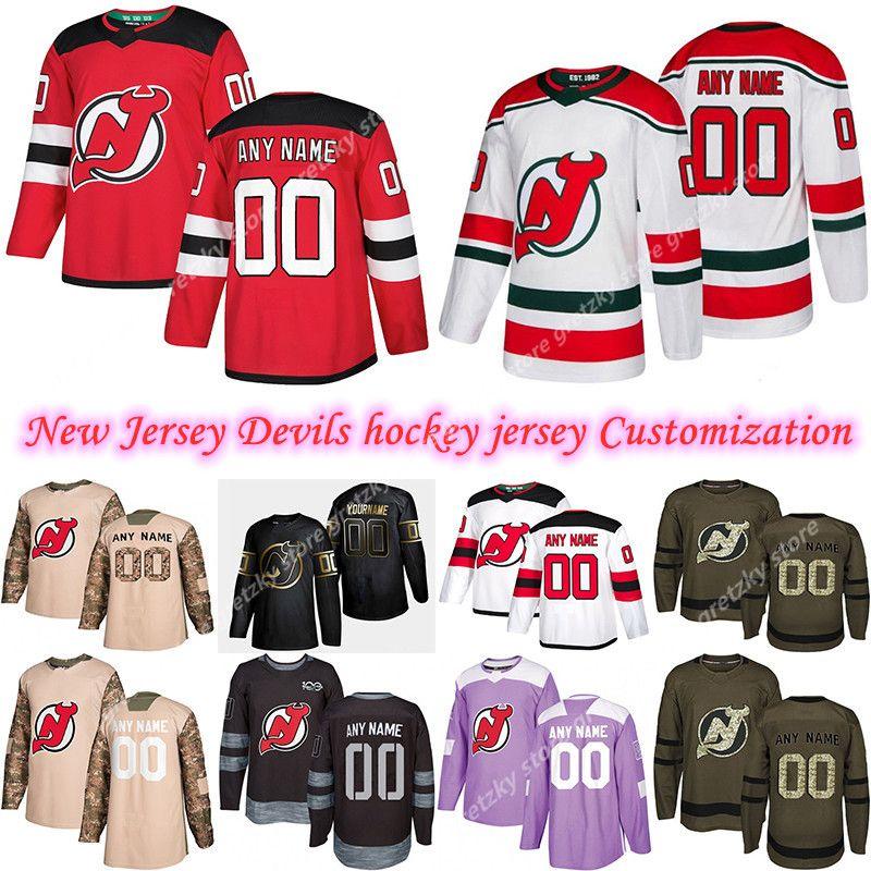 사용자 정의 2020 뉴스 뉴저지 악마 하키 유니폼 여러 스타일 망 35 Schneider Greene 사용자 정의 모든 이름 모든 숫자 하키 유니폼