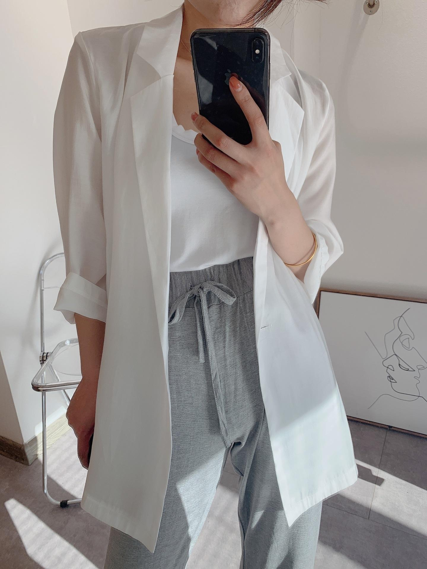 Ningdexia B sol a prueba de micro-transparente superior no entrar en serie pesar camisa superior Tencel sueltos mujer traje de camisa de manga de ocho puntos