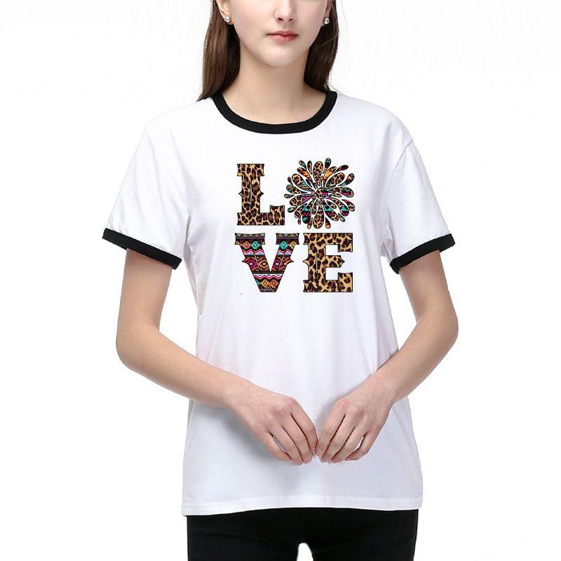 Harf Baskılı Günlük Nefes T Shirt Bayan DIY Giyim Boyut S-2XL olan kadınlar Yeni Yaz Tees için Moda DIY Tişörtlü