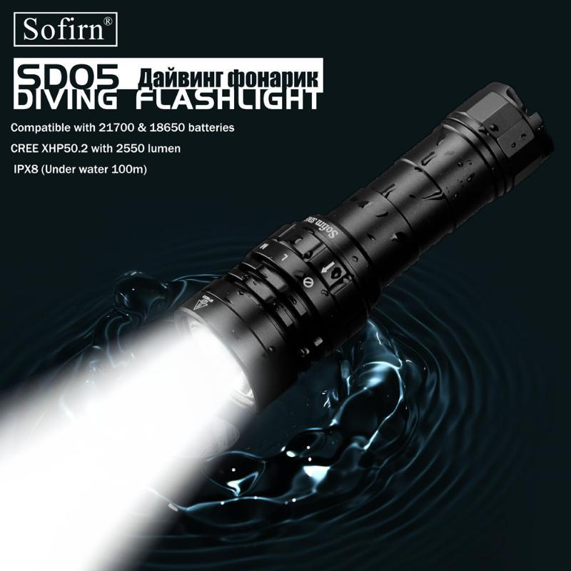 Sofirn New SD05 Scuba Dive LED Tauchen Licht Cree XHP50.2 Super Bright 2550lm 21700 Lampe mit Magnetschalter 3 Modi