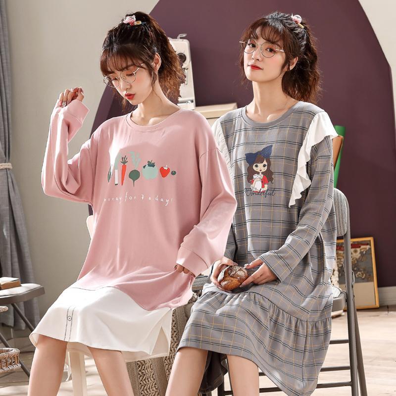 2020 Autumn Korean Baumwolle Langarm Nachthemden für Frauen-nette Karikatur-Nachtwäsche Femme Nachtkleid Startseite Kleid Nachthemd Nighty
