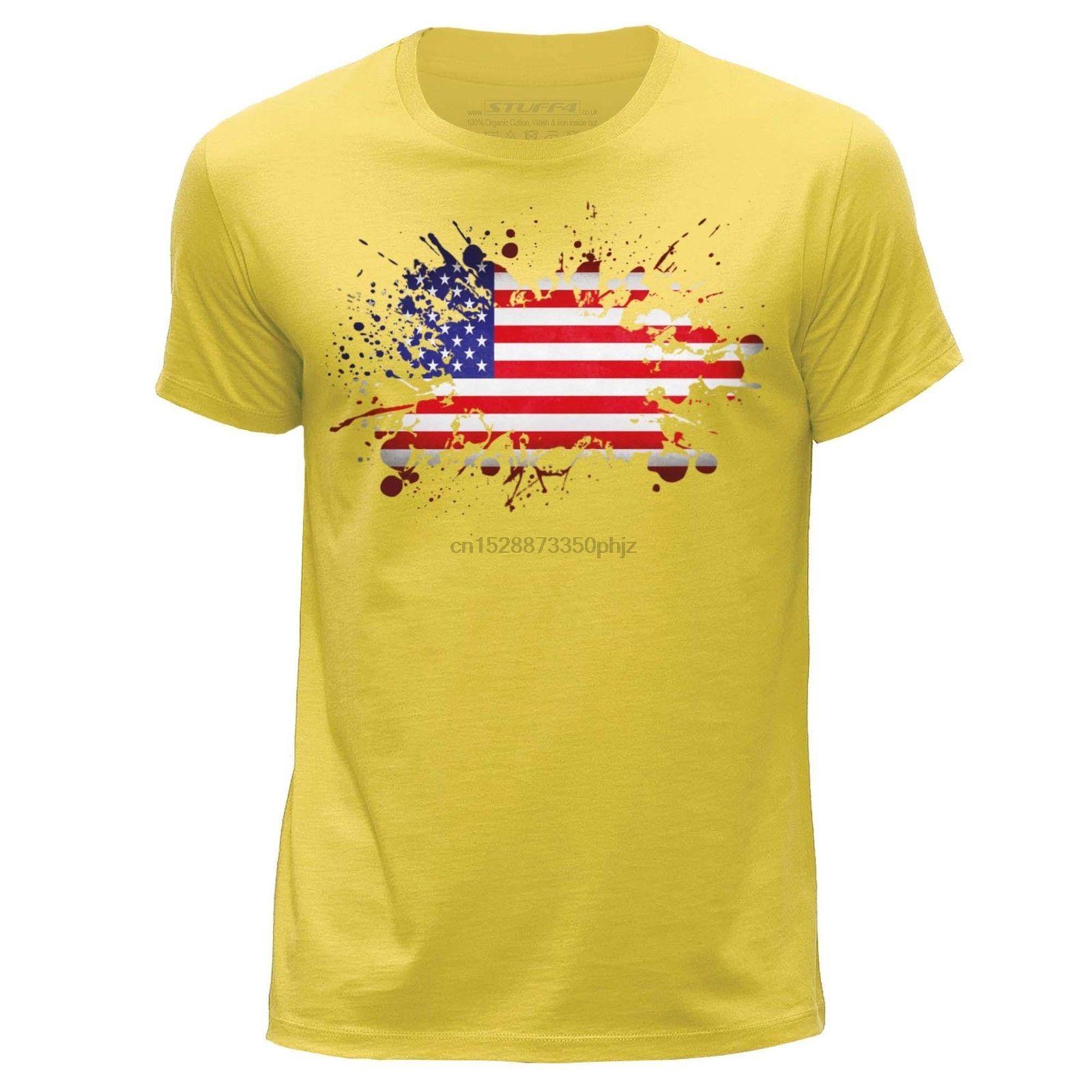 Stuff4 Herren Gelb Rundhals T-Shirt Usa American Flagge Sz Cool Casual Pride T Shirt Men Unisex New Tshirt Loose Fashion