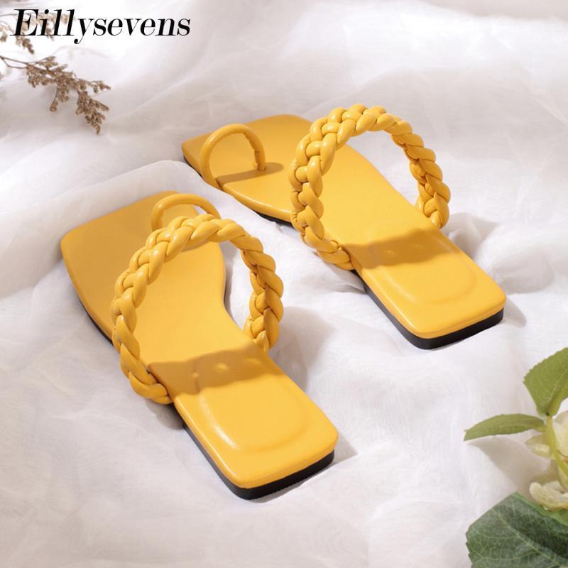 Weinlese-Frauen Slipper Ring Toe Flache beiläufige Schuh-Strand-Sandelholz Einfache Damen-Schuh-Plattform Sandalen De Mujer Verano 2020