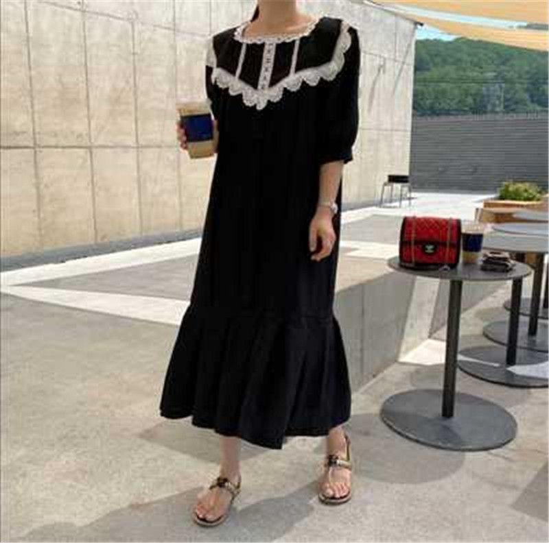 RUGOD Lace Style corte francese temperamento estate maxi vestito allentato della signora Puff Sleeve Vintage Chic Donna Sundresses 2020