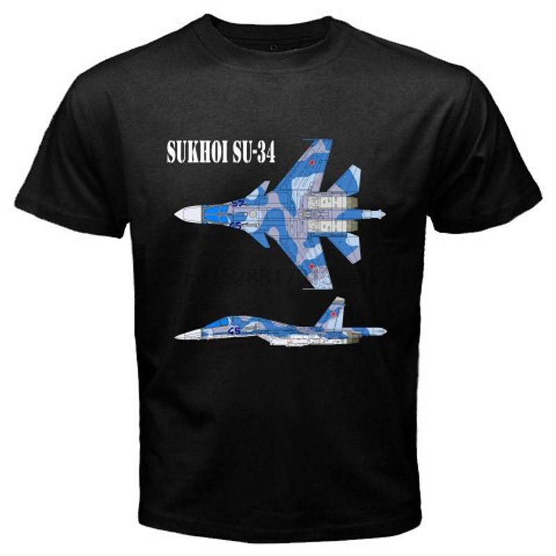 2018 Последние Смешной Мужчины Crew Neck Новая Sukhoi SU-34 Истребитель России Jet Flanker Mens Черная футболка Размер S в 3XL