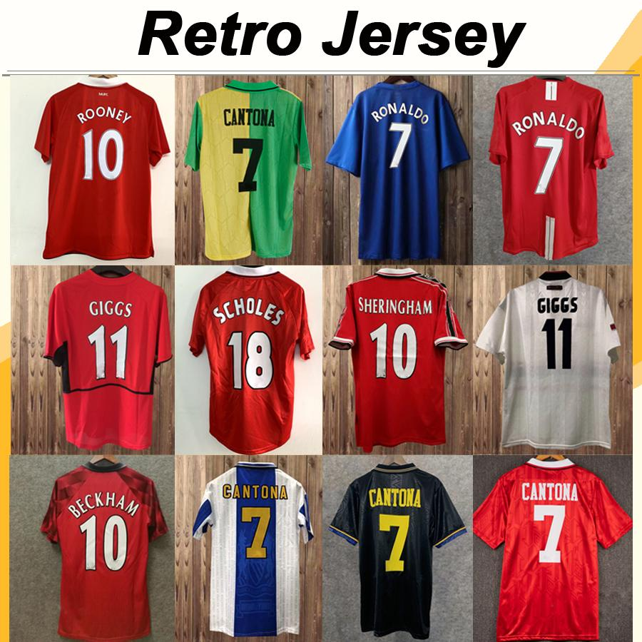 92 98 Cantona Giggs KEANE Mens RETRO Futbol Formalar 98 04 BECKHAM Solskjaer SCHOLES 11 RONALDO FERDINAND ROONEY Chicharito Futbol Gömlek