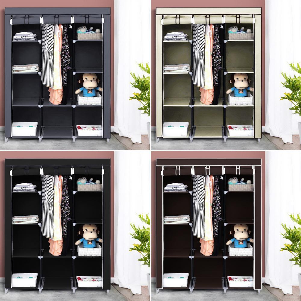 Armoire Simple Tissu Armoire Iron Pipe renforcée Assemblée économique Stockage poussière Tissu Bonnetière Simple moderne
