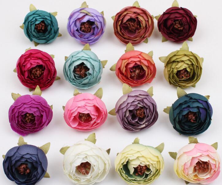 Мини Искусственного Tea Rose Bud маленького пион Camellia Flores головка цветок для венчания шарика украшения DIY Craft подарков для украшения партии GA672