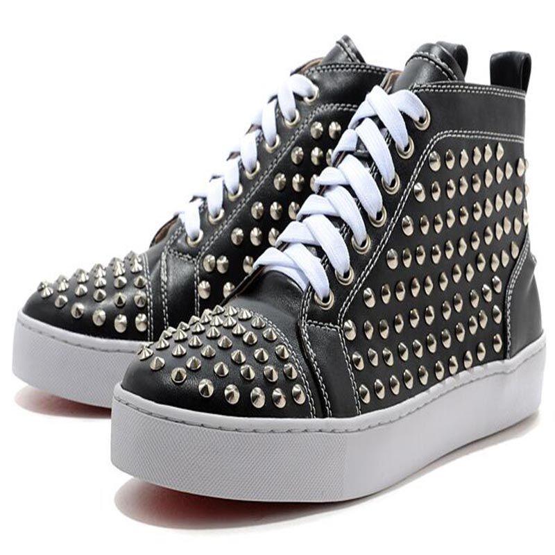 Maroon picos ocasionales Zapatos rojos de fondo nuevos hombres y mujeres zapatillas de deporte de los amantes del partido cuero genuino tamaño B7 EU47