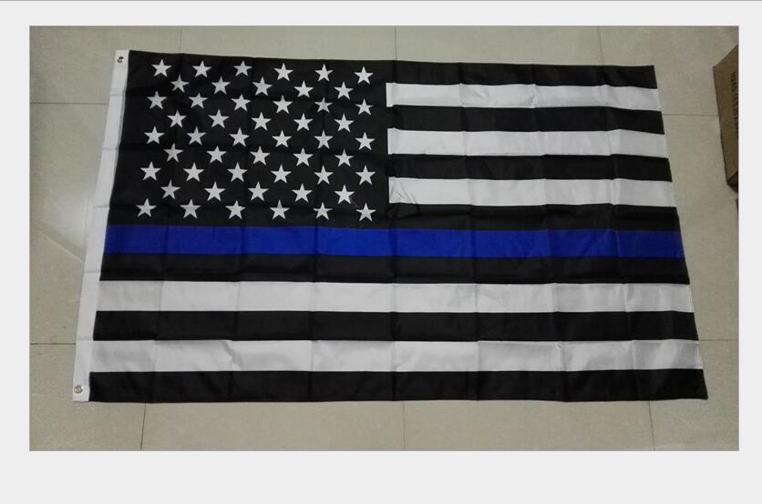Полиэстер США Полицейские Флаги 3 * 5 Foot Thin Голубой Флаг США Черный Белый и синий американский флаг с латунными креплениями Баннер Флаги