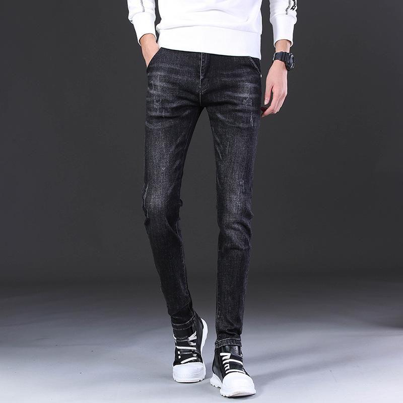 Джинсы вышивка Тонкий Fit Straight Джинсовые брюки людей способа Проблемные Брюки