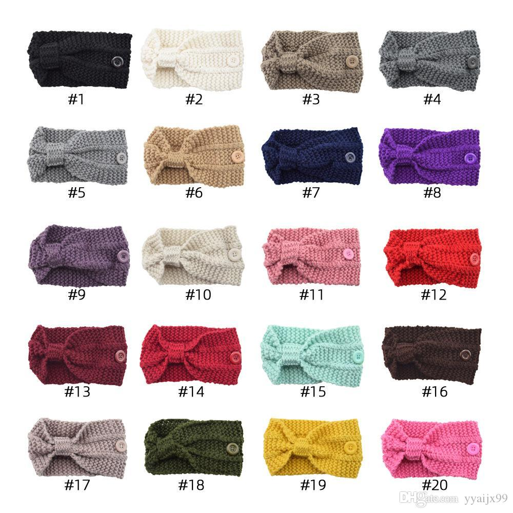 hairband Crochet pour Masque Boucle d'oreille élastique serre-tête en tricot oreille Longe Porte sport Bandeaux avec bouton