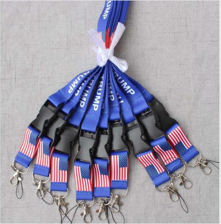 Trump Removable Die Flagge der Vereinigten Staaten Schlüsselanhänger Badge Anhänger Partei-Geschenk Moble Telefon Lanyard Halsband Zubehör DDA283