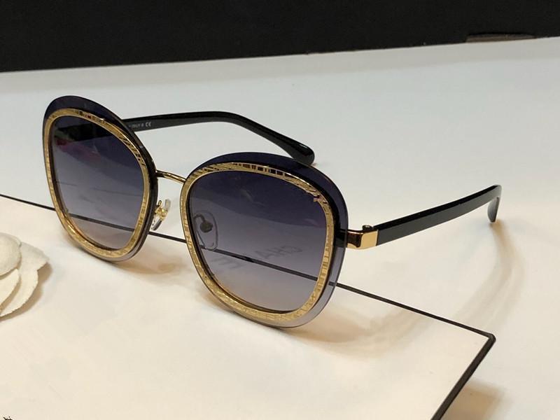 4264 Lunettes de soleil pour les femmes Fashion Designer Protection UV miroité Cadre Plein cadre plaqué de qualité supérieure Venez avec le cas