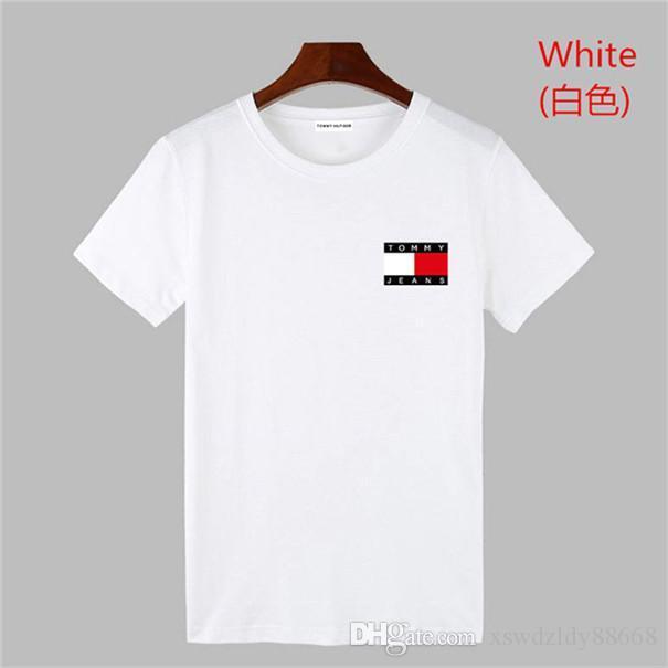 Мужчины Лето дышащий Спорт футболка с коротким рукавом Slim Fit Солнечный Дождливый Футболка Solid Color O-образным вырезом Прохладный Мужчины TOMMY