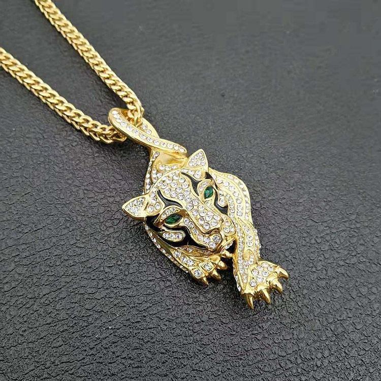 Collar de titanio de acero realista leopardo con los ojos verdes colgante de Hip Hop Joyería para los hombres collar de plata y oro