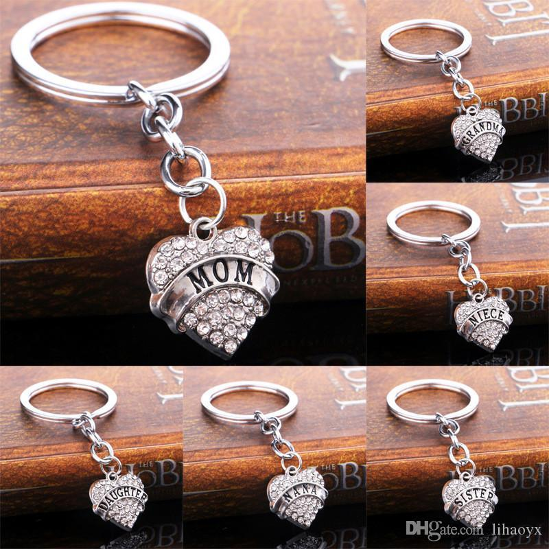 16 Rhinestone Crystal Set Spiral Silver Chain Lock Key Chain Is The Best Friend Family Gift