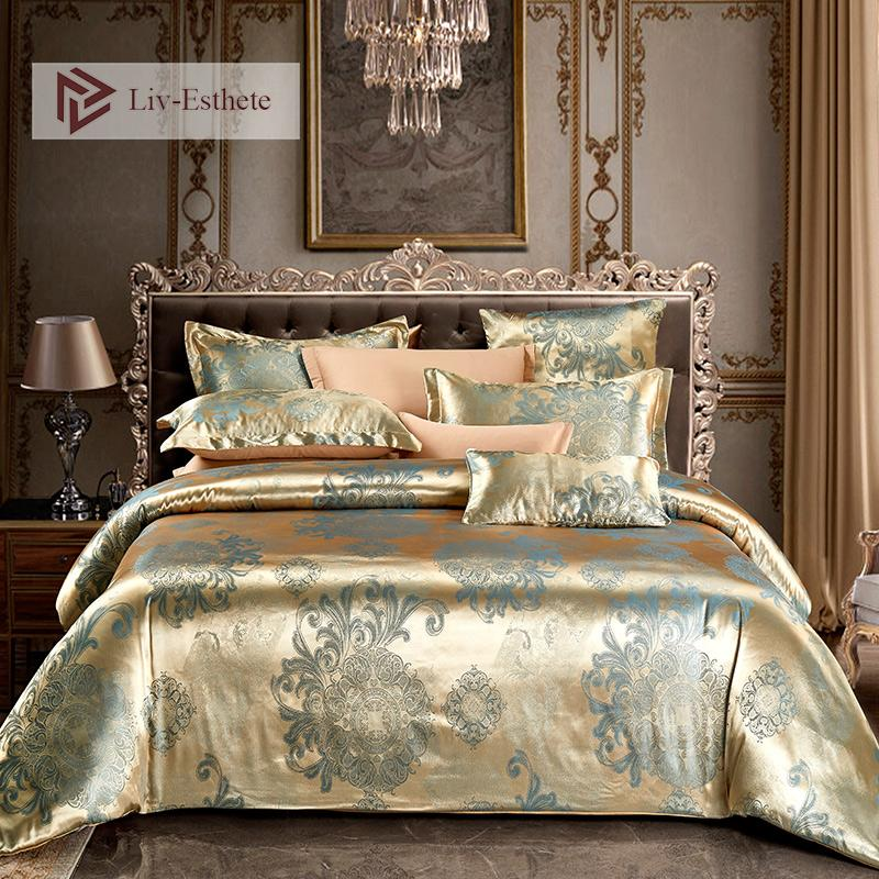 Liv-Esteta Euro jacquard Boemia Bedding Set Double Queen re copripiumino piatto lenzuolo decorativo biancheria da sposa