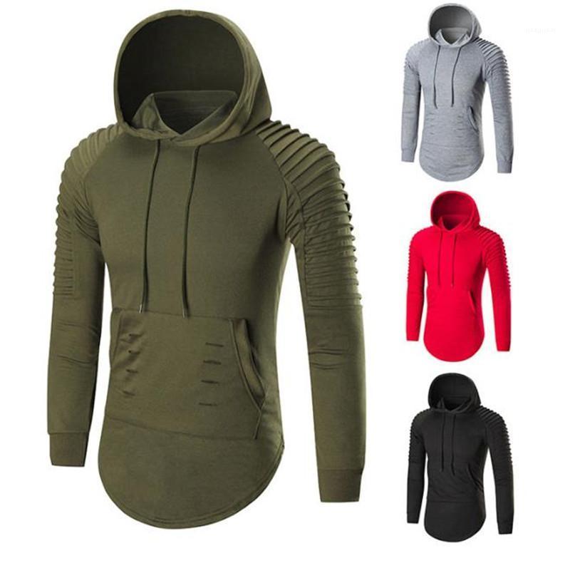 Mens-beiläufige Hoodies Modedesigner Solide Ruched Langarm-Kapuzenpulli Homme dünne Pullover Tops 20ss
