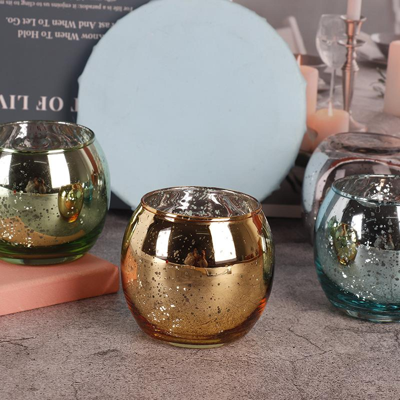 8x7cm electroplated broken silver multicolor spherical candle empty cup candlestick home decoration for DIY scented candles