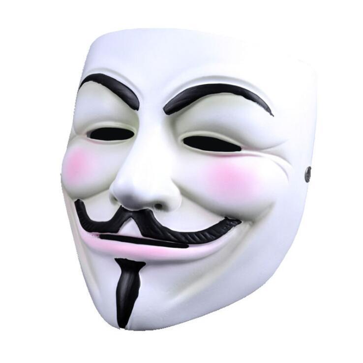 Bianco V maschera mascherata mascherina mascherine Eyeliner di Halloween pieno facciale puntelli del partito di faida Anonymous film Guy il trasporto all'ingrosso DWD2117 libera