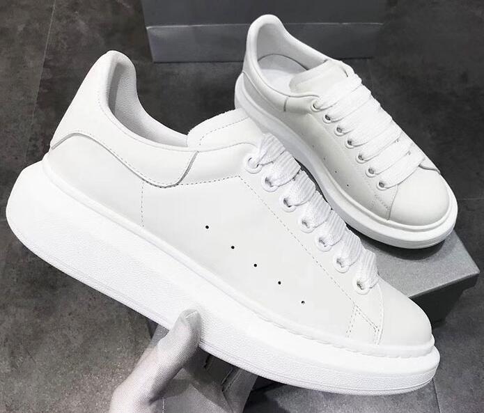 New sapatos de grife chegou quente Venda Marca Couro Branco Mulheres Moda tênis branco homens sapatos ppp05